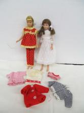 (766) Barbie ~ Vintage Skipper & Skooter Dolls w/Extra Clothes