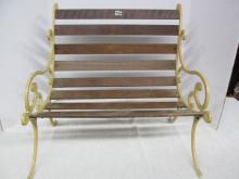 (526) Nice Wood & Metal Large Doll Bench ~ 19