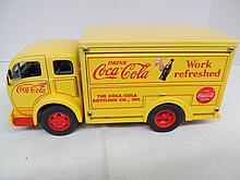 (34) Die Cast 1955 Yellow/Red Coca-Cola Bottling Co. Filled With Fountian Coke Canisters by Danbury Mint