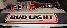 (6) Bud Light Beer Hanging Pool Table Light ~ Working ~ Large Bud Light Beer Bottle On Ice ~ Note: top of light has what appears to be paint overspray that can probably be easily removed but we did not meddle with it and will leave that up to somebody that knows what they're doing