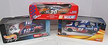 (45) Lot of 3 NASCAR Cars ~ 2 Die Cast ~ Mobil #12 ~ Citgo #99 & 1 Milk Chocolate Home Depot #20