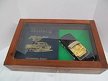 (45) Autographed Limited Edition 3799 / 5000 Leather Bound Easton Press Book MUSTANG ~ Autographed by Carroll Shelby & Black 1965 Ford Mustang Die Cast 1:18 Scale Car in Glass Top Case