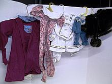 (37) Lot of 4 Doll Outfits & Faux Fur Coat