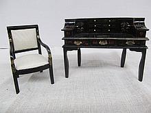 (593) Dollhouse Miniatures 1:12 Scale ~ Oriental Desk & Chair