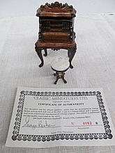 (594) Dollhouse Miniatures 1:12 Scale ~ George Becker Writing Desk w/Tree of Life Chair/Stool ~ COA Signed by George Becker ~ Limited Edition