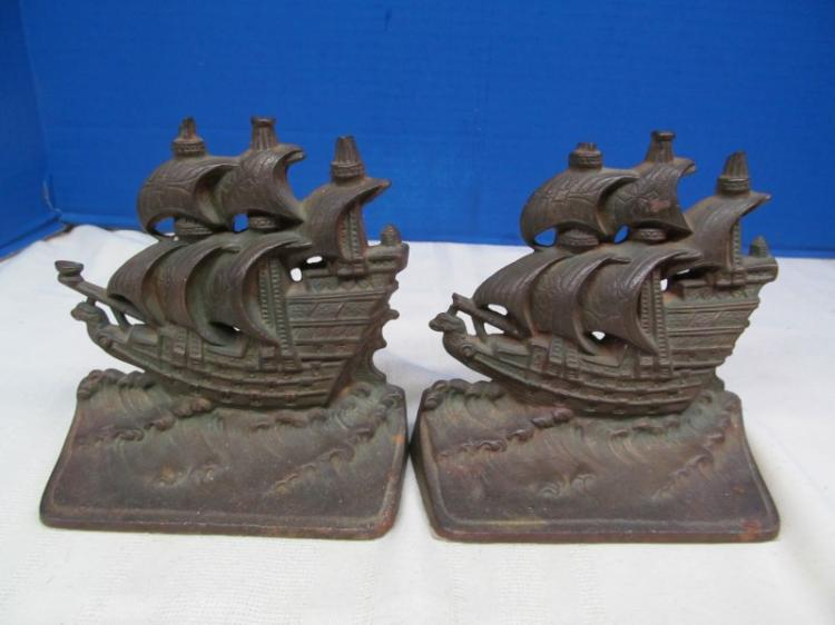 ANTIQUE CAST IRON SHIP BOOKENDS