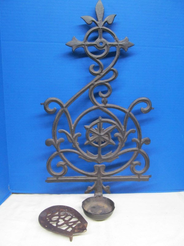 CAST IRON WAGNER WARE ASH TRAY MARRIED TO FANCY IRON WALL HANGING & 1894 TRIVET