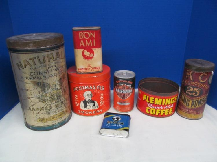 LOT OF 7 ANTIQUE & VINTAGE TINS ~ BON AMI ~ FLEMING'S COFFEE ~ NATURALAX PLANTAGO PSYLLIUM FOR CONSTIPATION ~ POSTMASTER 2 FOR 5¢ CIGAR SMOKERS ~ BUGLER CIGARETTE CASE ~ DAYTONA 1986 HARLEY-DAVIDSON BEER ~ KC 25¢ BAKING POWDER