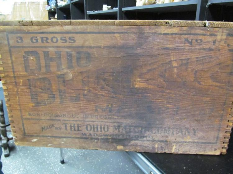 ANTIQUE WOOD THE OHIO MATCH COMPANY MATCH CRATE