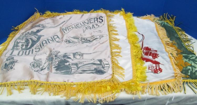 LOT OF 4 VINTAGE FRINGED SWEETHEART/MOTHER PILLOW COVERS ~ LOUISIANA MANEUVERS 1943 ~ AIR FORCE V ~ ARMY AIR BASE ~ US NAVY GUANTANAMO BAY, CUBA