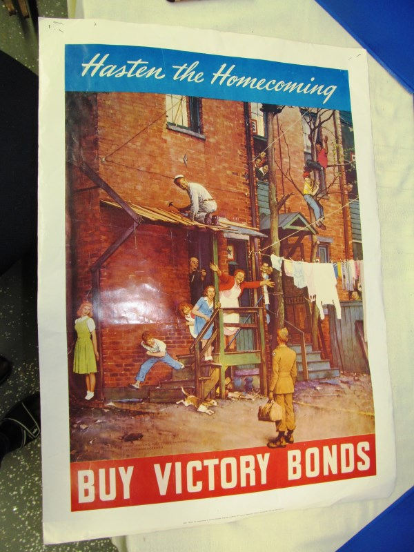 POSTER BUY VICTORY BONDS ~ NORMAN ROCKWELL - HASTEN THE HOMECOMING