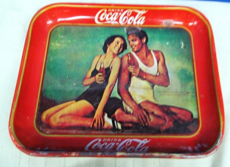 VINTAGE 1934 RARE MAUREEN SULLIVAN & JOHNNY WEISSMILLER COCA COLA METAL BEER TRAY
