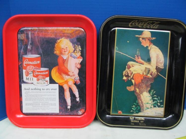 LOT OF 2 METAL TRAYS ~ COCA-COLA & CARNATION MILK