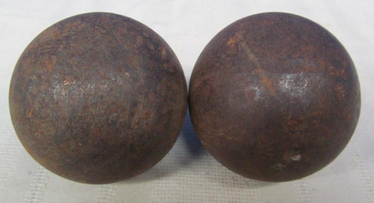 LOT OF 2 GRAPE SHOT ~ SHOT FROM ARTILLERY ~ 9 SHOTS OF THESE CANNON BALLS WERE HELD TOGETHER IN ON LOOSE UNIT BY A LARGE SPRING & SHAFT & 2 PLATES ~ WHEN FIRED, THE SHAFT BROKE, RELASING THE UNIT LIKE A HUGE SHOTGUN SHELL.