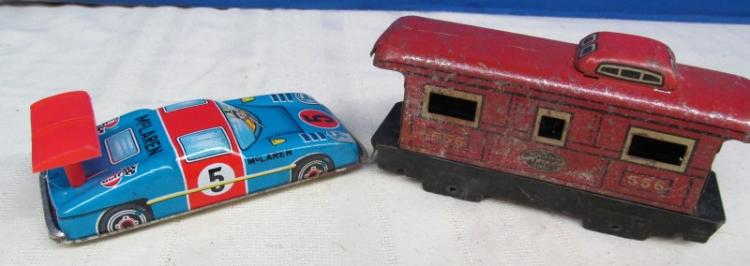 LOT OF 2 VINTAGE METAL TOYS ~ TRAIN CABOOSE & RACE CAR