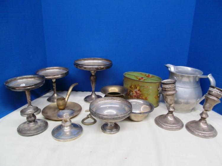 METAL LOT ~ STERLING ~ PEWTER ~ TIN ~ BRASS