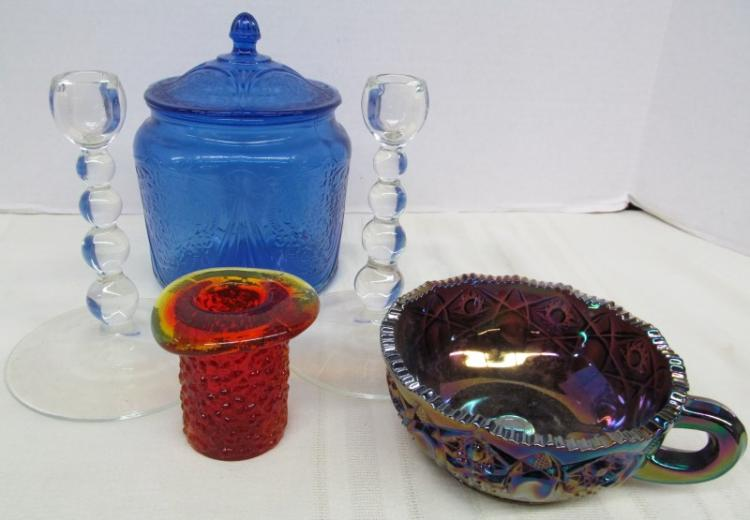 5 PIECE LOT OF DECORATIVE GLASS ~ AMBERINA TOP HAT ~ BLUE BISCUIT / CANDY JAR ~ PAIR OF PADEN CITY CANDLE STICKS ~ CARNIVAL GLASS NAPPY BOWL
