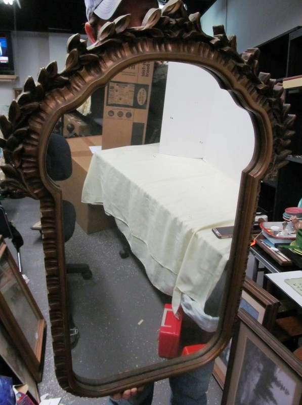LARGE DECORATIVE WOOD FRAMED MIRROR