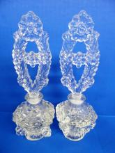 PAIR OF ANTIQUE CRYSTAL GLASS PERFUME BOTTLES