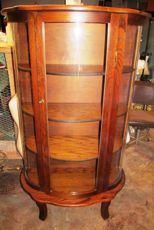 CURVED GLASS CURIO CABINET ~ 4 WOOD SHELF