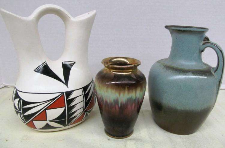 LOT OF 3 PIECES OF POTTERY ~ SIGNED INDIAN DOUBLE SPOUT PITCHER ~ WEST GERMANY VASE ~ FRANKOMA PITCHER