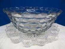 AMERICAN FOSTORIA PUNCH BOWL SET ~ HUGE PUNCH BOWL & 12 PUNCH CUPS