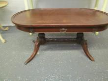 CLAW FOOT MAHOGANY OVAL TABLE (Note: 1 foot cover missing)