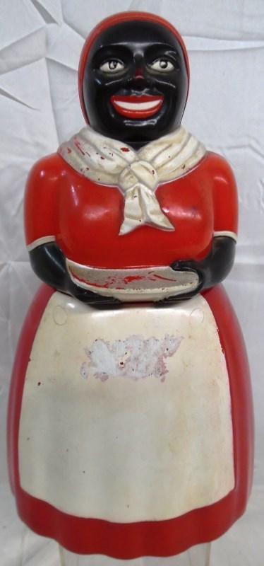 VINTAGE LARGE BLACK AMERICANA F&F PLASTIC COOKIE / BISCUIT JAR
