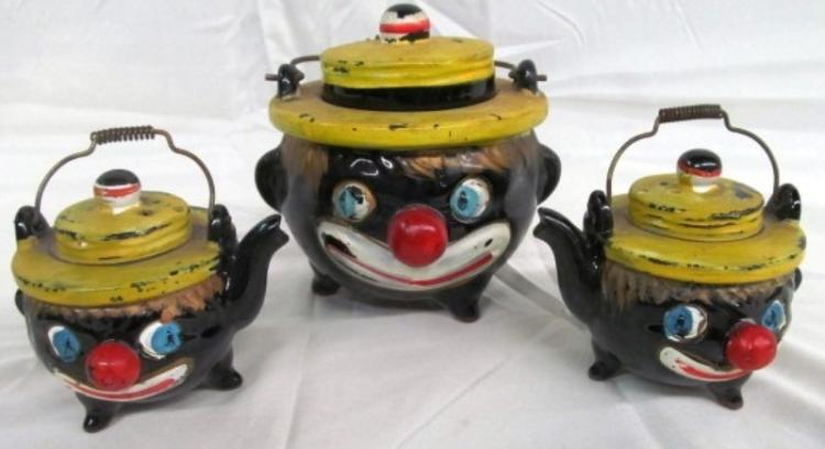 ANTIQUE BLACK AMERICANA SUGAR JAR & 2 CREAMERS