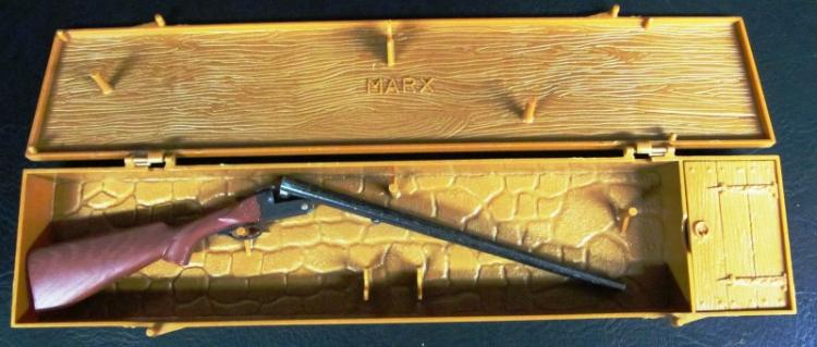 VINTAGE MARX DOUBLE BARREL SHOTGUN IN ORIGINAL PLASTIC CRATE