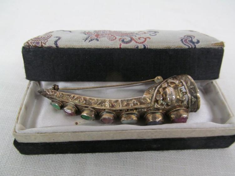 ORIENTAL JEWELED FINGER GUARD w/7 STONES MADE INTO BROOCH
