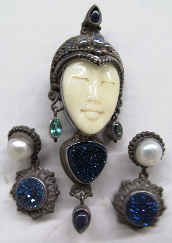 ASIAN IVORY FACED PRINCESS w/CHALCEDONY STERLING BROOCH & EARRINGS