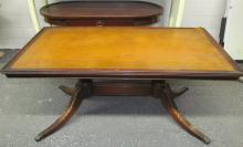 LEATHER TOP CLAW FOOT TABLE
