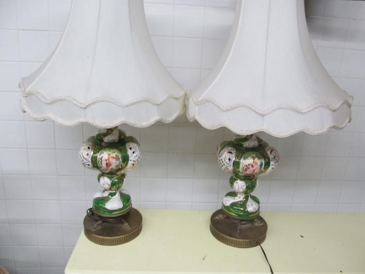 LOT OF 2 CAPODIMONTE' TABLE LAMPS ~ NEEDS NEW SHADES