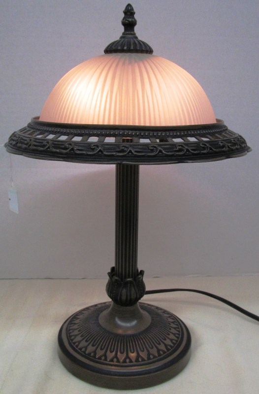 GLASS SHADE DESK LAMP