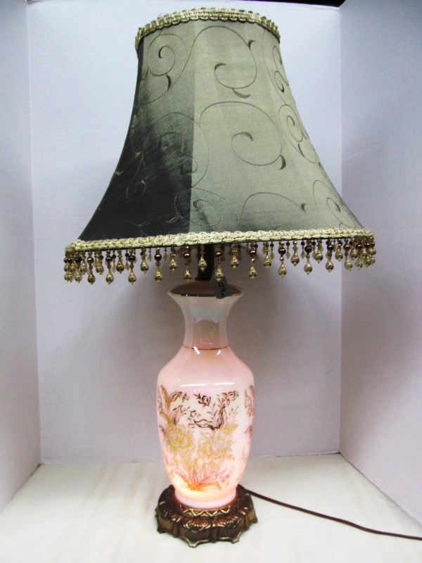 GLASS TABLE LAMP w/LOWER LIGHT & FRINGED SHADE