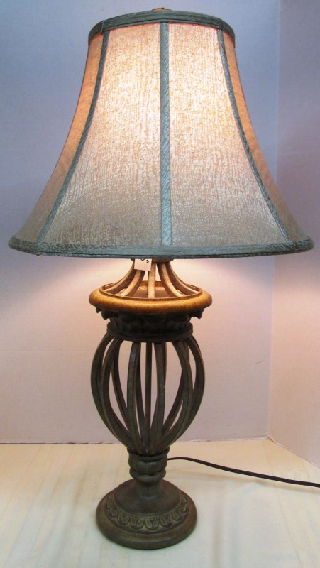 METAL CAGE TABLE LAMP w/SHADE