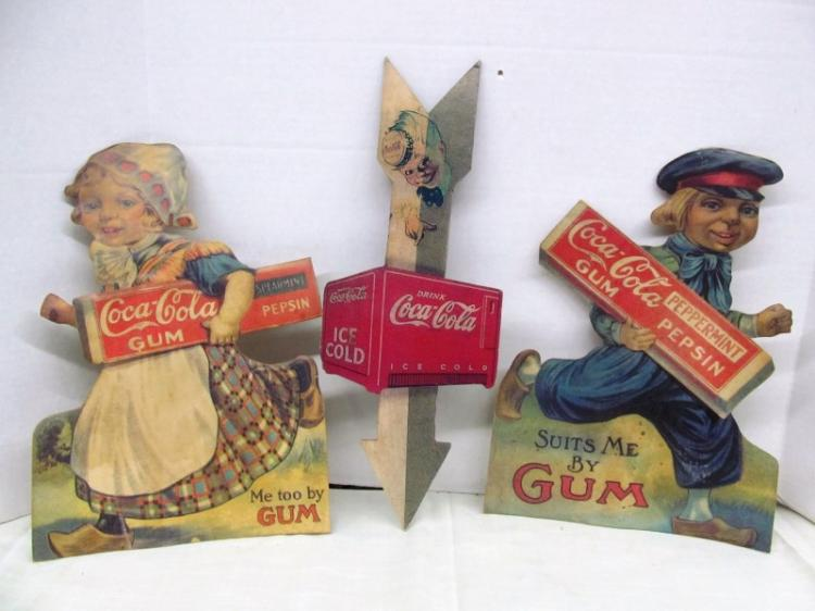 VINTAGE 3 CARD STOCK COCA-COLA ADVERTISING PIECES