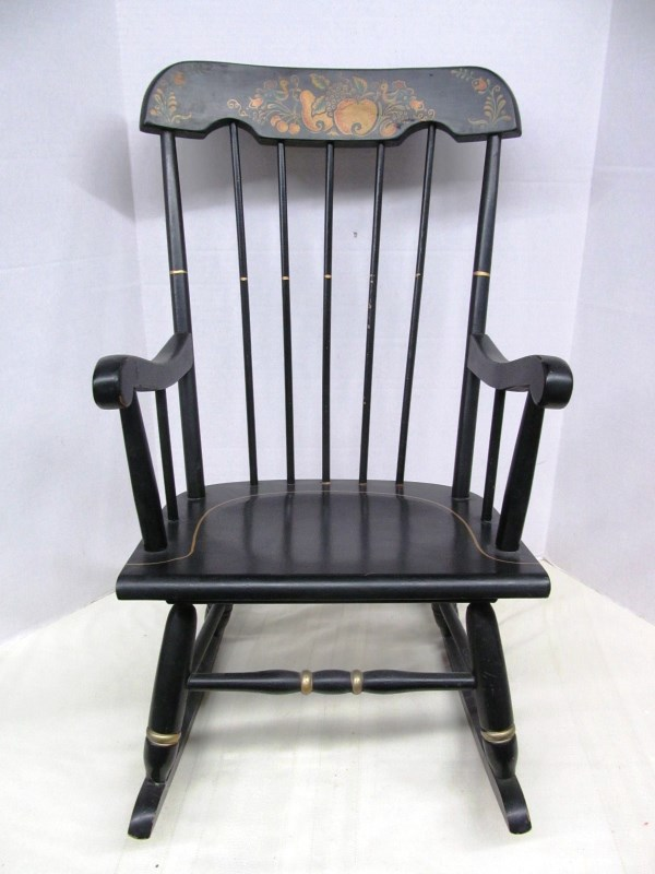 CHILD'S BLACK & GOLD ROCKING CHAIR