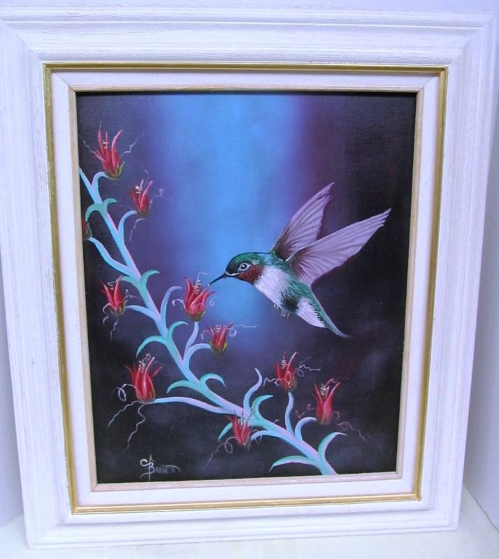 FRAMED ART ~ BEAUTIFUL HUMMINGBIRD by BARNETT ~ CANVAS ~ 28