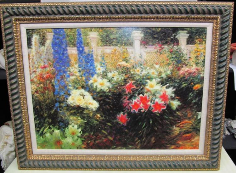 FRAMED ART ~ BEAUTIFUL FLORAL GARDEN by G SANDLER ~ 32