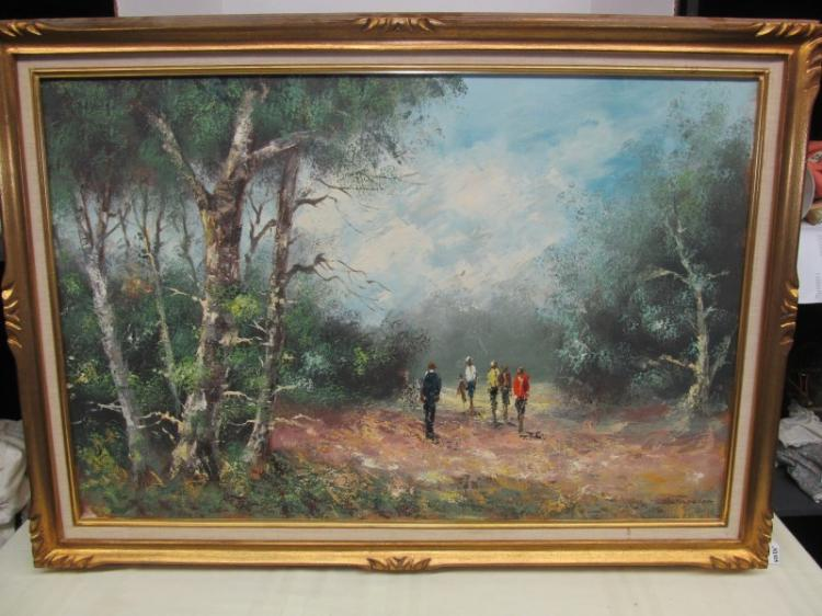 FRAMED ART ~ IMPRESSIONISTIC FOLKS IN AN OPENING IN THE WOODS by FARCHER ~ 42