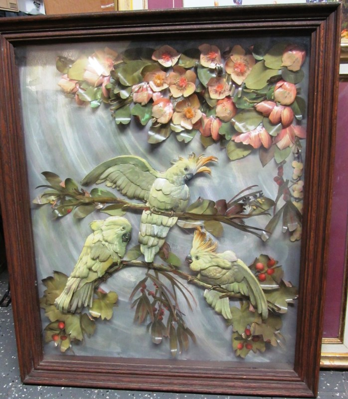 FRAMED ART ~ 3 DIMENSIONAL PAPER CUT BIRDS ON BRANCHES UNDER GLASS ~ 27