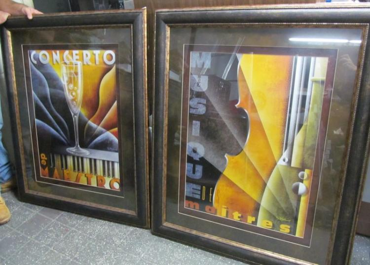 FRAMED ART ~ LOT OF 2 HUGE 47
