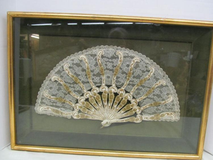 BEAUTIFUL GOLD & LACE FAN DISPLAYED UNDER FRAMED GLASS