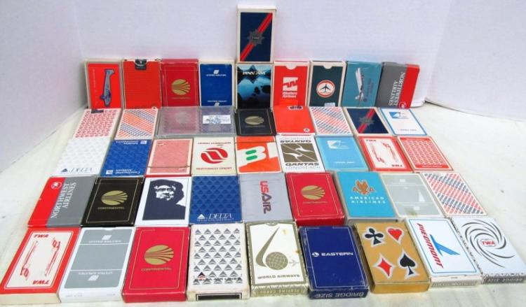 VINTAGE LOT OF 46 DECKS OF VARIOUS AIRLINE PLAYING CARDS ~ PAN AM ~ UNITED ~ DELTA ~ NORTHWEST ORIENT ~ CONTINENTAL ~ WESTERN ~ NORTHWEST ~ TWA ~ QANTAS ~ BRITISH AIRWAYS ~ EASTERN ~ OTHERS
