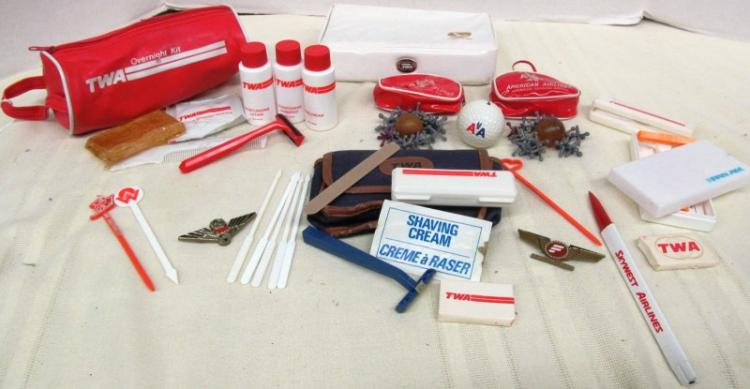 REALLY COOL VINTAGE LOT OF VARIOUS AIRLINE VANITY/TOY PACKS ~ SHAVING ~ BATHING ~ JACKS ~ DRINK STIRRERS ~ PEN ~ WINGS ~ SOAPS ~ RAZORS ~ OTHER