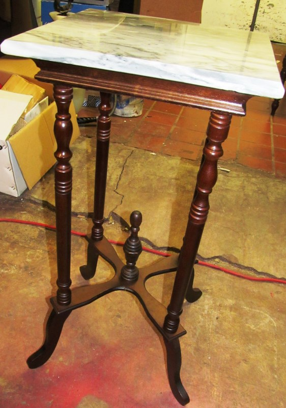 MARBLE TOP FERN/BUST TABLE