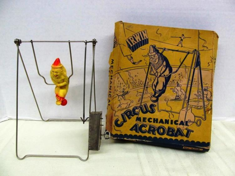 ANTIQUE TOY IRWIN CIRCUS MECHANICAL ACROBAT
