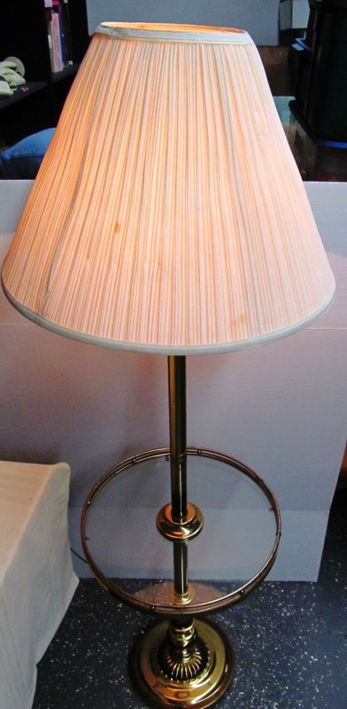 FLOOR LAMP w/GLASS TABLE